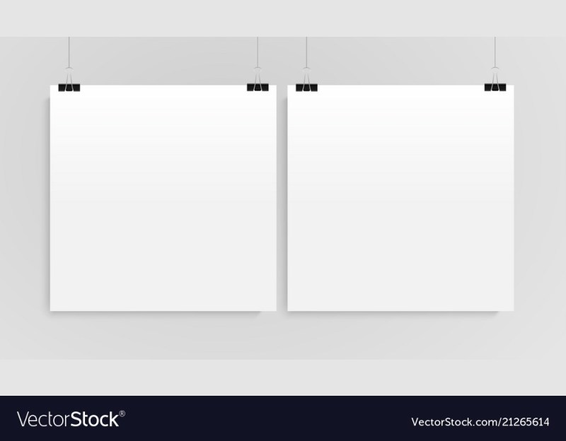 two vertical poster mockup square mock up vector image