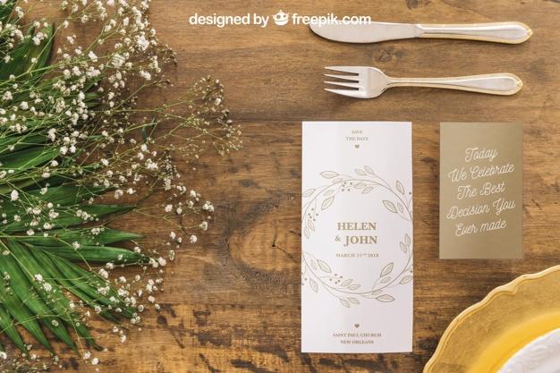 wedding menu mockup psd file free download