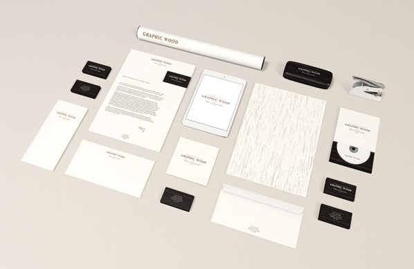 wood edition stationery mockup free psd download ltheme