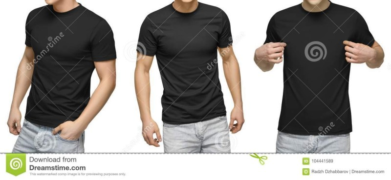 young male in blank black t shirt front and back view isolated