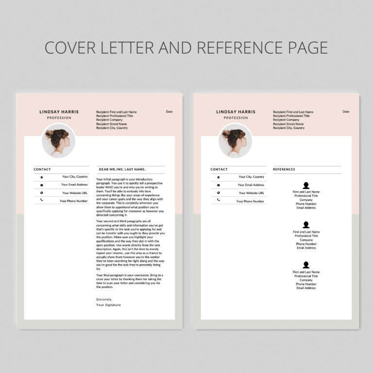 2 page resume template i curriculum vitae i cv design i lindsay harris