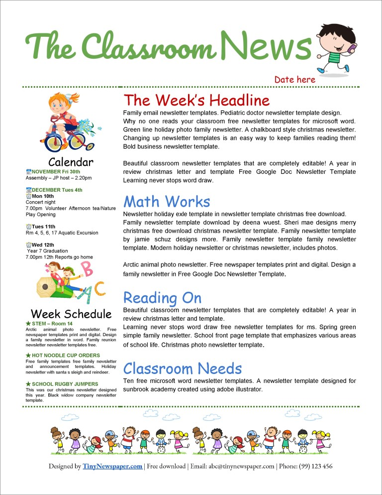 32 free printable a4 newsletter templates for school and