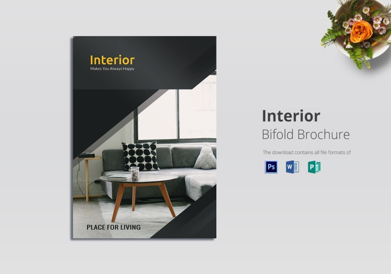 bi fold interior brochure template