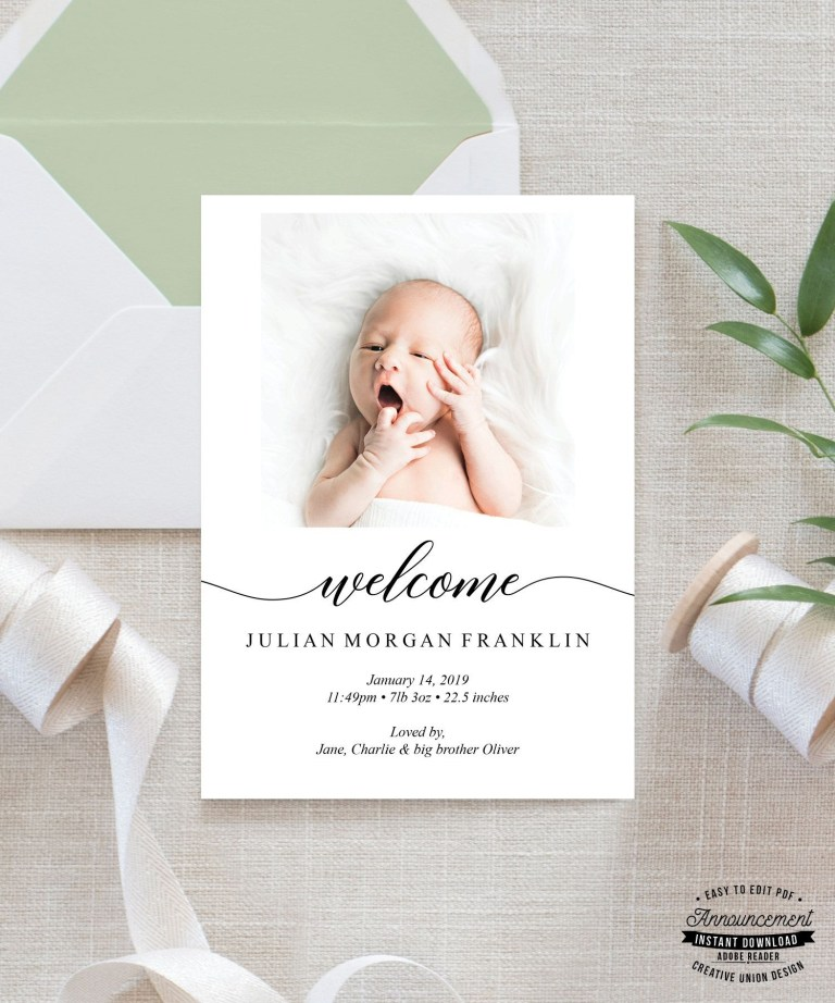 birth announcement card boy