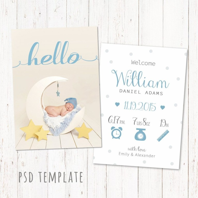 birth announcement template card digital for boy