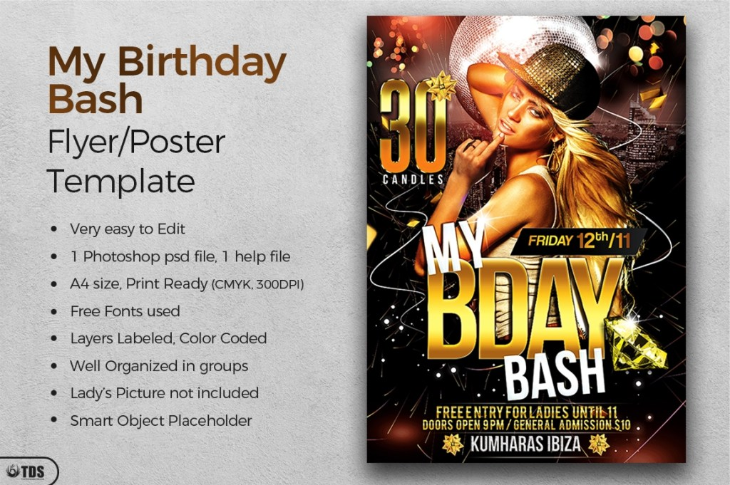 birthday bash flyer template free posters design for photoshop
