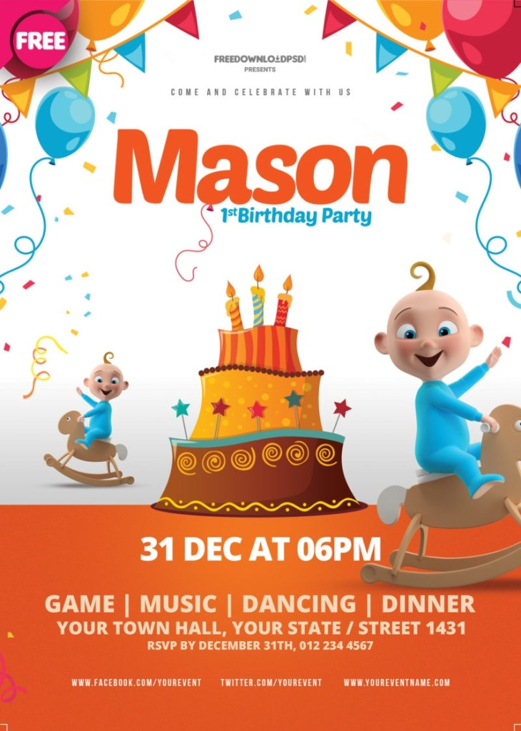 birthday party flyer template psdflyer