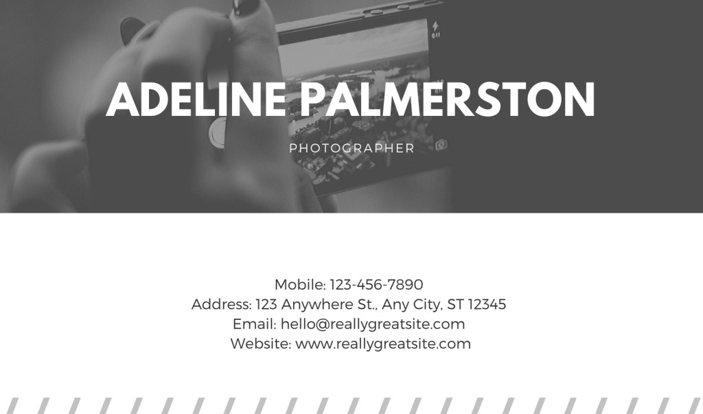 black and white photo photography simple business card