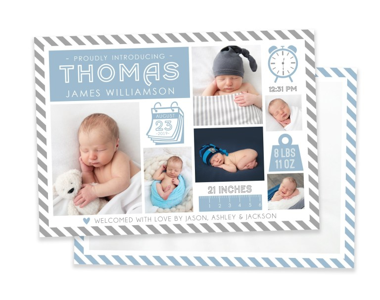 boy birth announcement template newborn