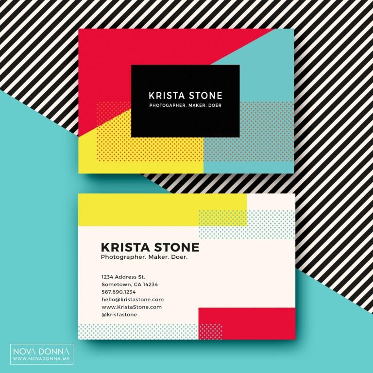 business card template designs pop geometric