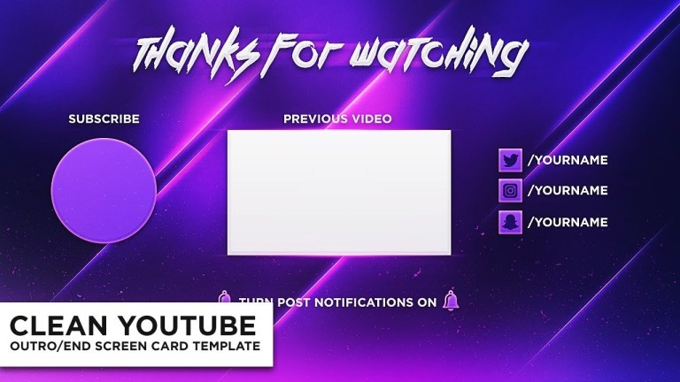 clean outroend screen card photoshop template free