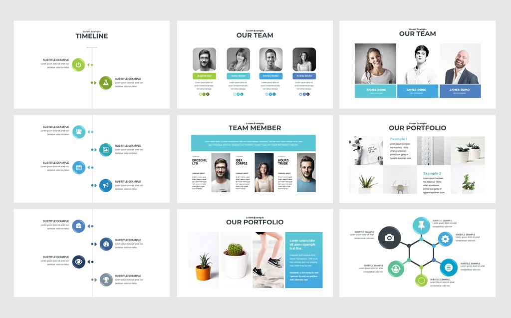 clean simple powerpoint template 74618 with images