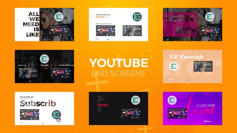 create a modern youtube end screen outro up to 4k resolution