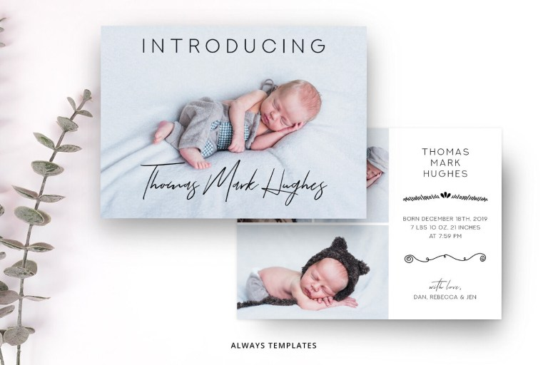 cute birth announcement template
