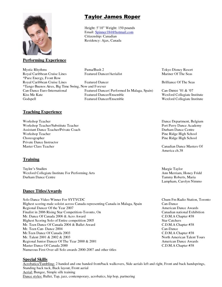 dancer resume format httpwwwresumecareerdancer