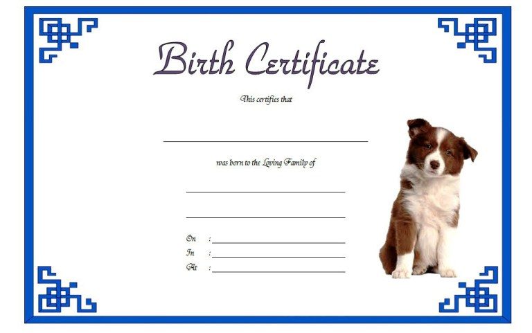 dog birth certificate template with a blue border