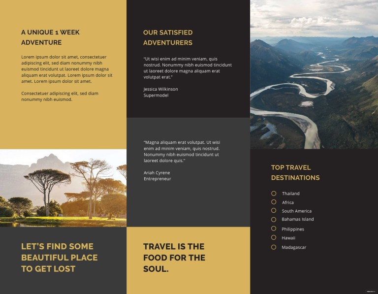 editable tri fold travel brochure
