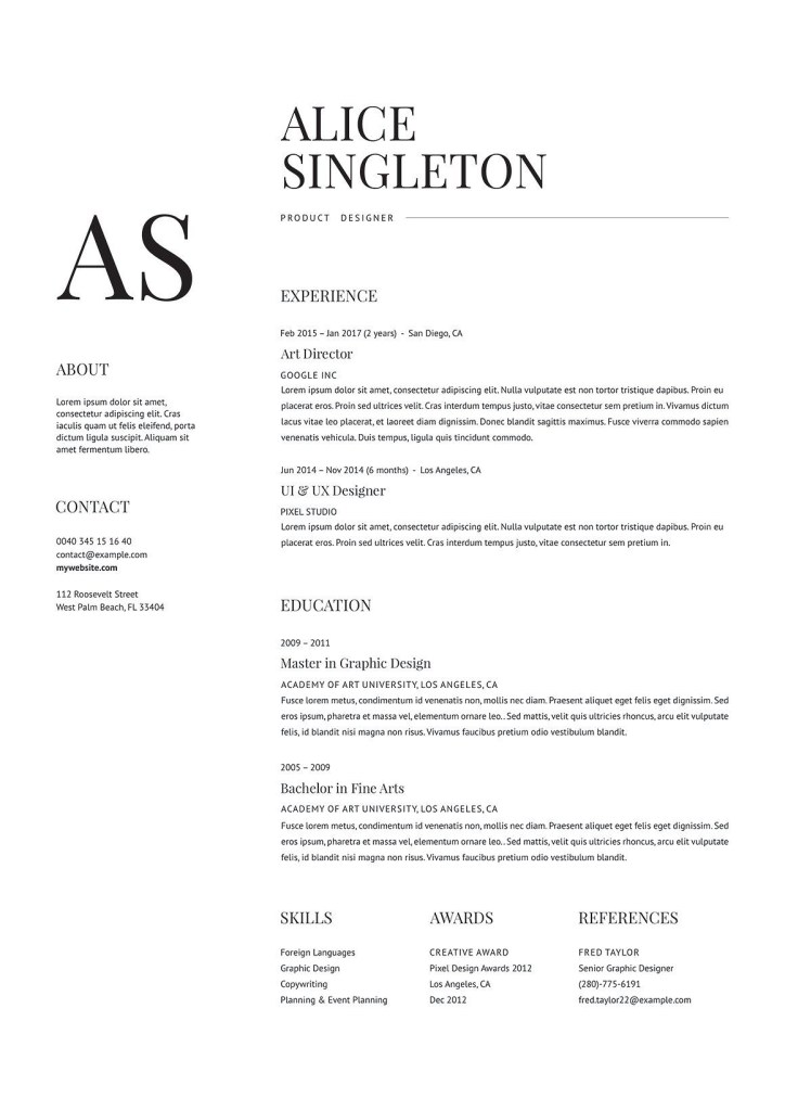 elegant resume resume design minimalist resume template