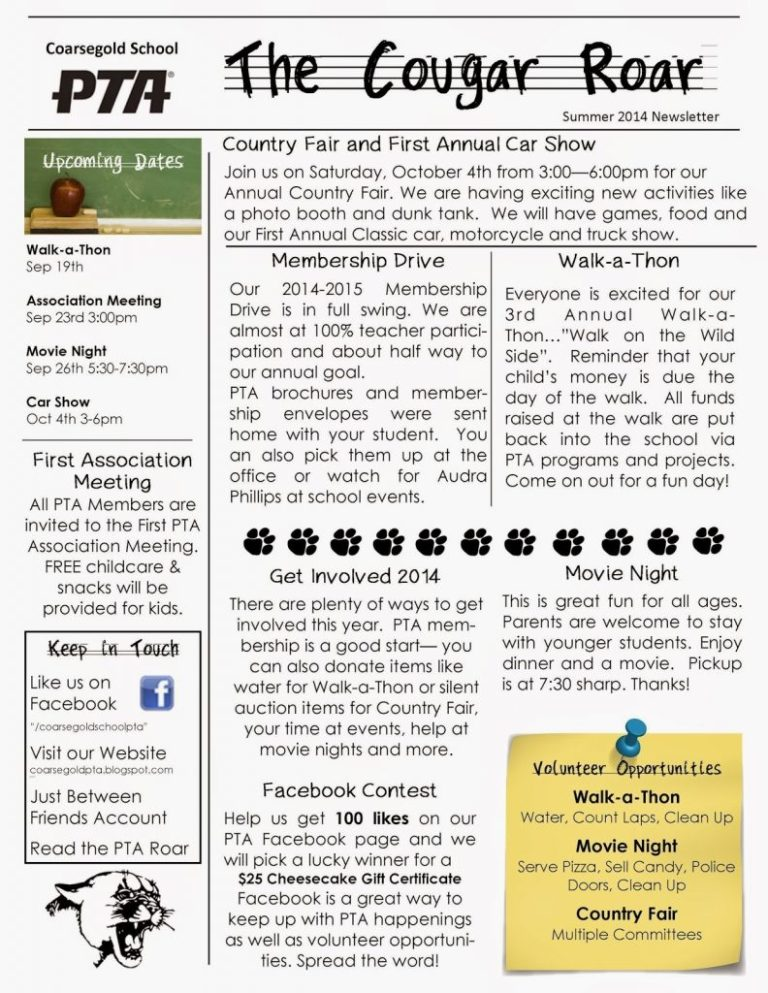 elementary school newsletter examples