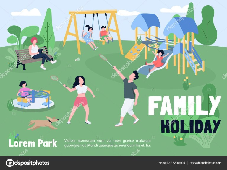 family holiday park banner flat vector