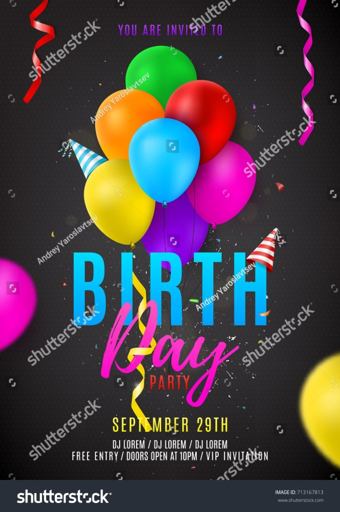 flyer template birthday party beautiful background stock