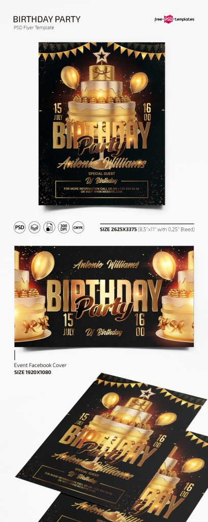 free birthday party flyer template in psd free psd templates