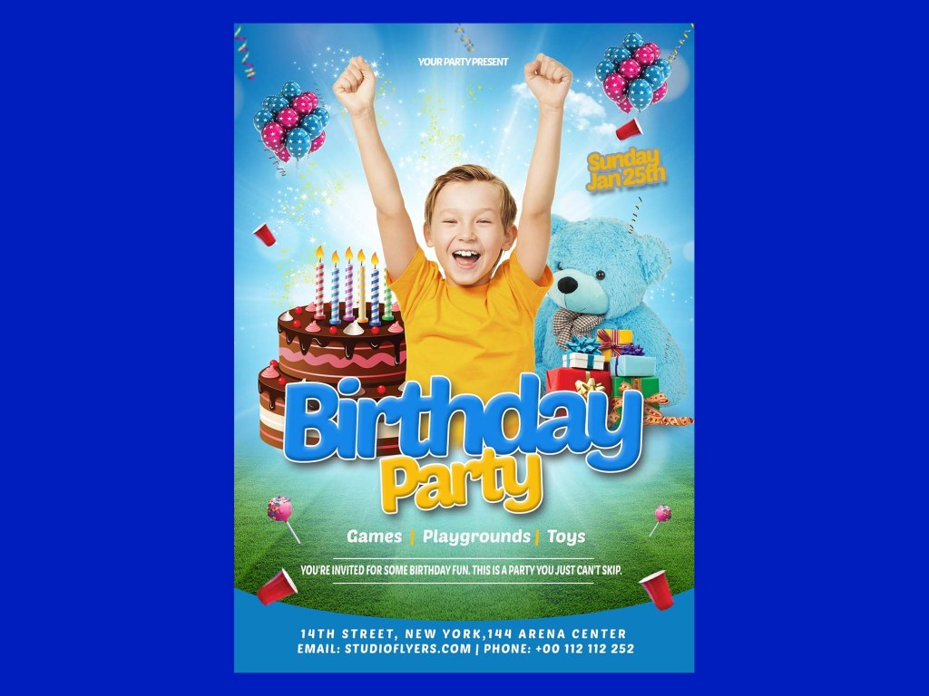free happy birthday kids flyer template psd