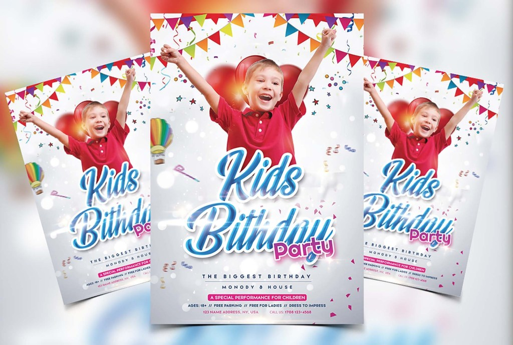 free kids birthday flyer template psd