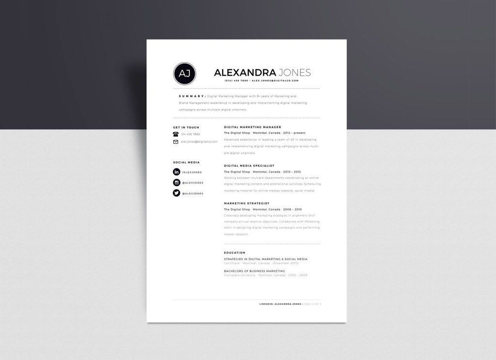 free minimalist resume template in indd ai word format