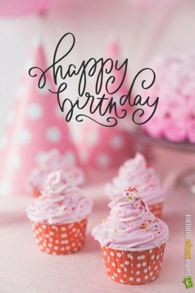 happy birthday pink cupcakes