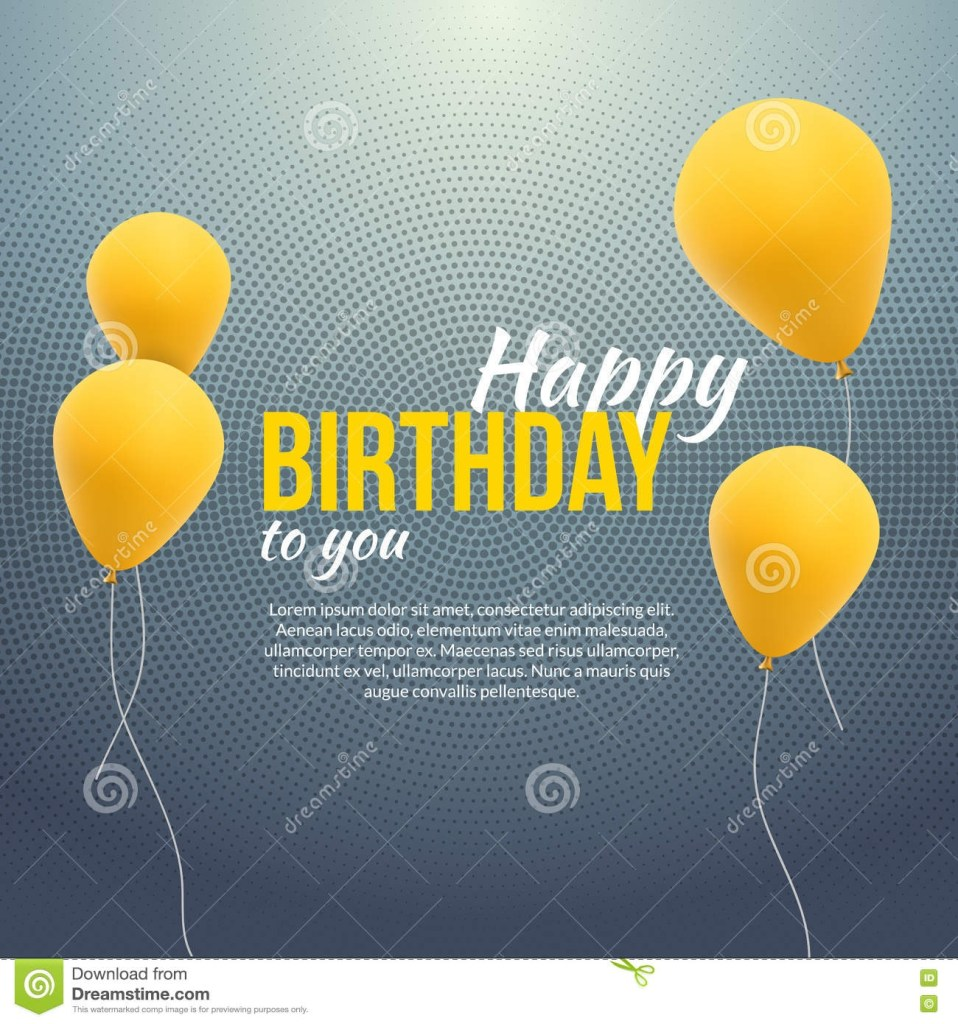 happy birthday poster background with yellow balloons and