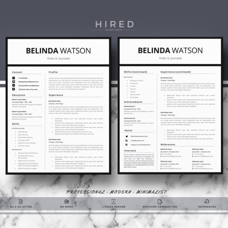 minimalist resume archivos hired design studio