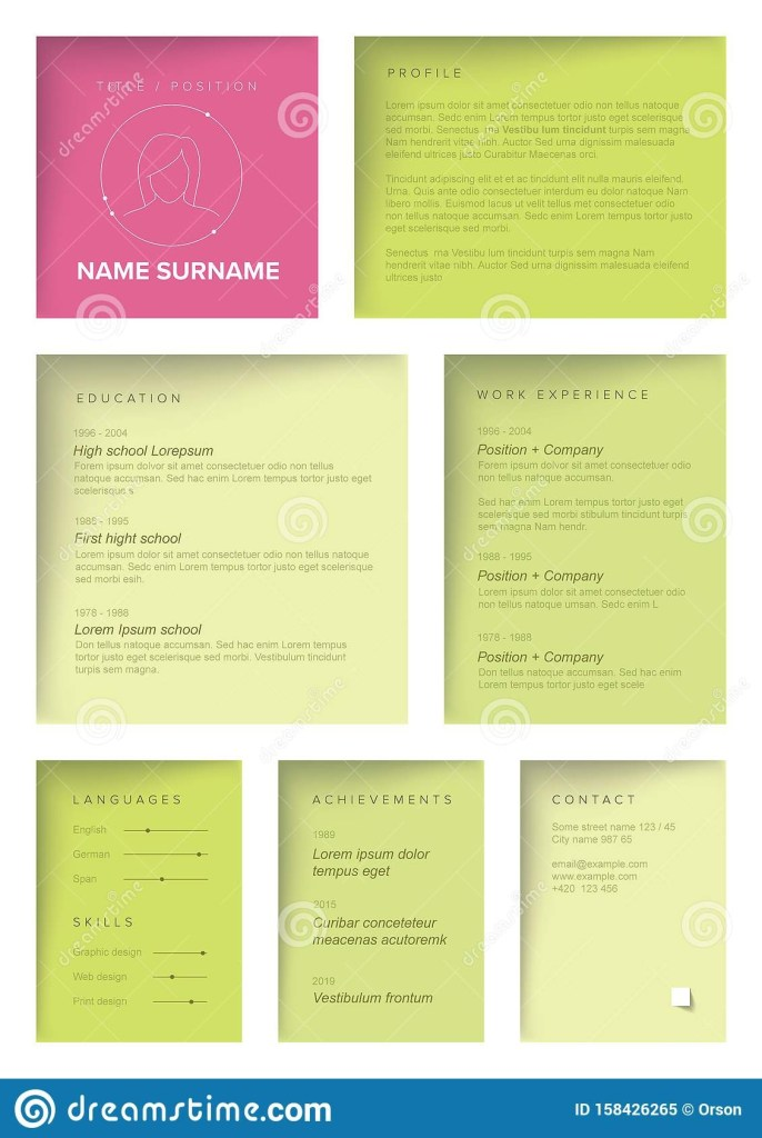 minimalist resume cv template for women stock vector