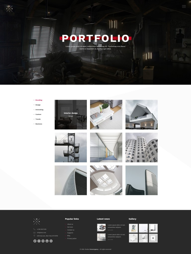 onix multi purpose architecture interior portfolio psd website