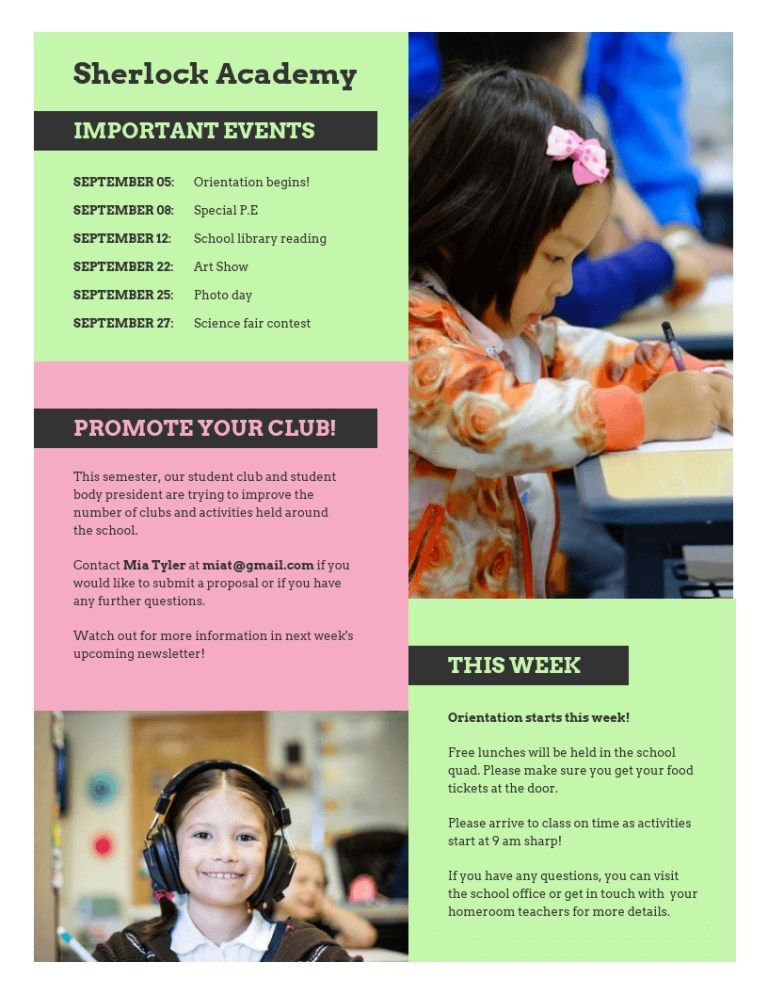 pink and green school newsletter template