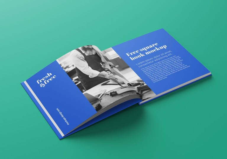 square book magazine mockup psd