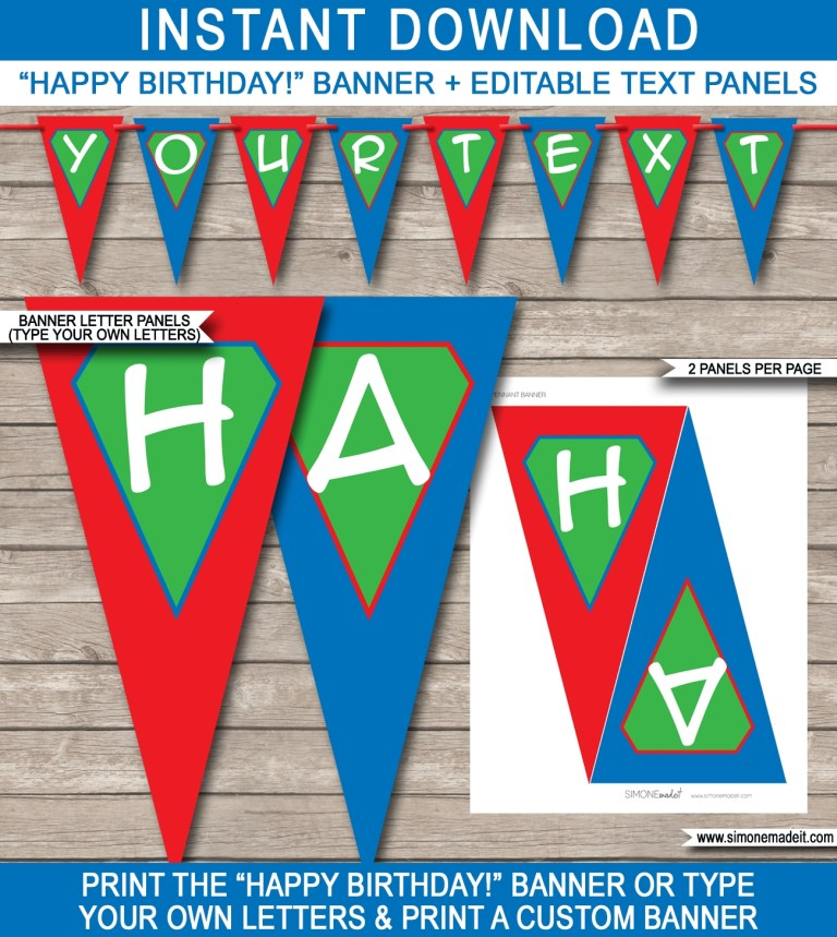 superhero party banner template green