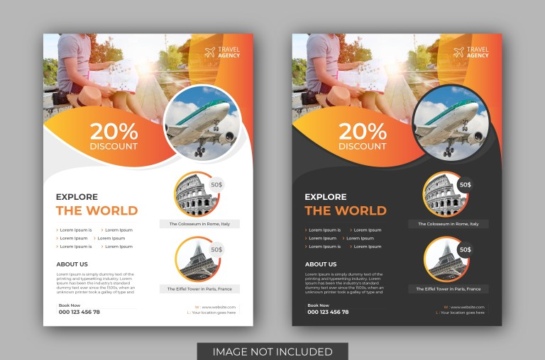 tours and travel flyer template vectors