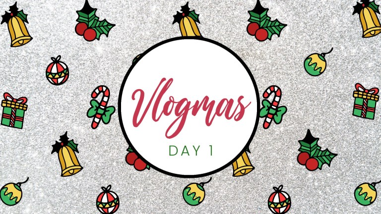 vlogmas glitter youtube video intro template for christmas candycane present and jingle bell