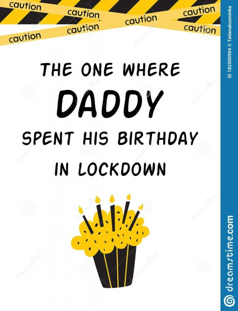 happy quarantine birthday card for daddy with cake candles