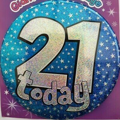 21st birthday badge stars silver flashing large party giant