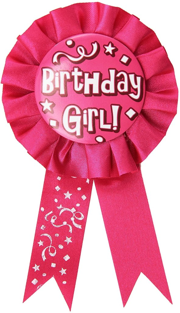 beistle wearable happy girl award ribbon to wear for celebration 1st birthday party supplies 375 x 65 pinkwhite