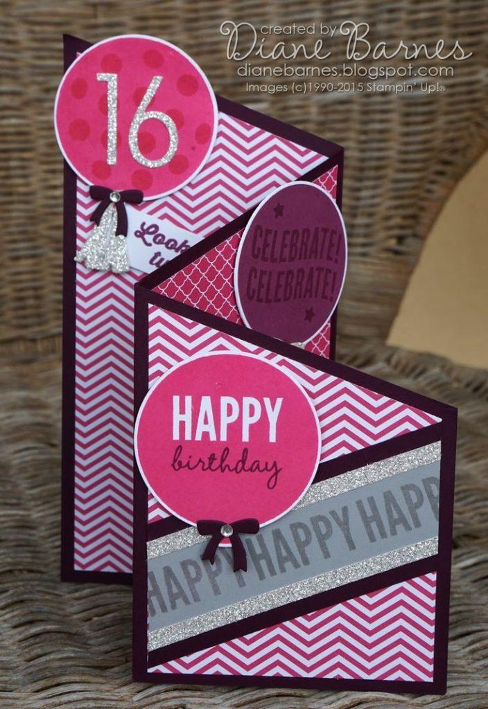 birthday card ideas angled tri fold teen birthday card