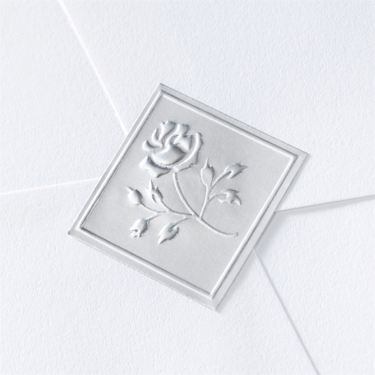 blank silver embossed rose seal wedding seal invitations dawn