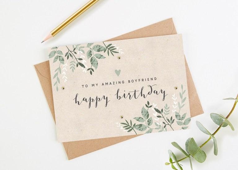 boyfriend birthday card green botanical normadorothy