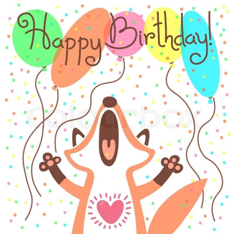 cute happy birthday card with funny stock vector
