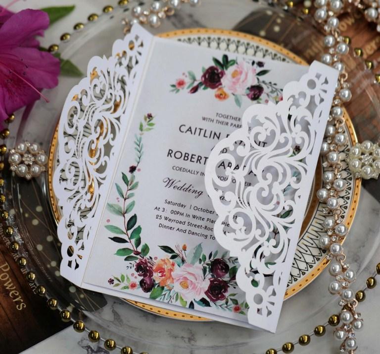cutout wedding cards vintage embossed tri fold wedding