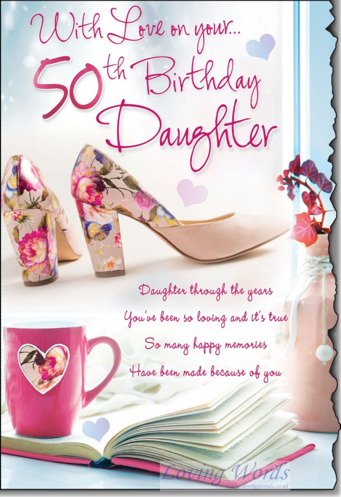 daughter 50th greeting cards loving words
