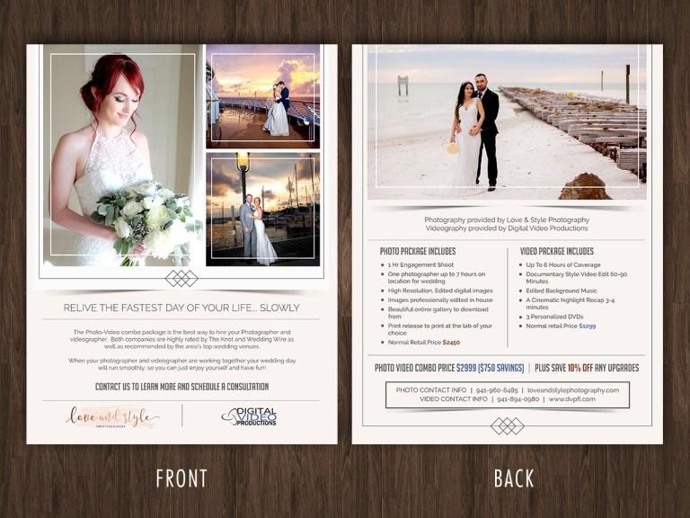 feminine elegant wedding photography flyer design for dvp