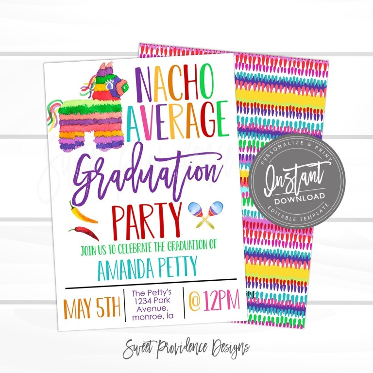 fiesta graduation invitation nacho average party invite fiesta theme party editable template cinco de mayo instant access edit now
